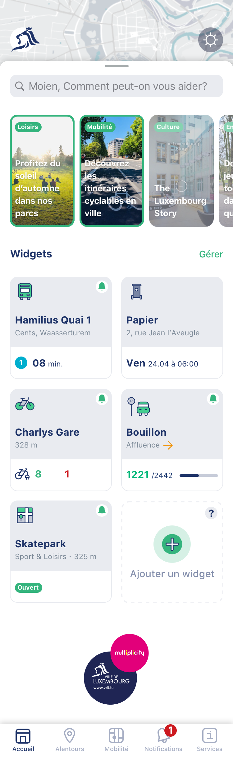 Cityapp - Ecran d'accueil - Home screen